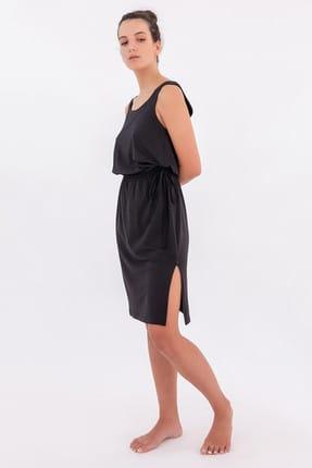 Hays Kadın Siyah Bel Bağlama Detaylı Kolsuz Penye Modal Elbise