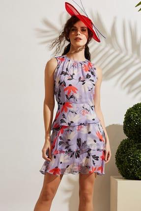 Vekem Kadın Lila Desenli Yakası Büzgülü Şifon Elbise 8109-0092
