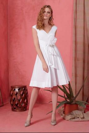 Gizia Kadın V Yaka Taş Detaylı Beyaz Elbise M19Y5Q03511NA