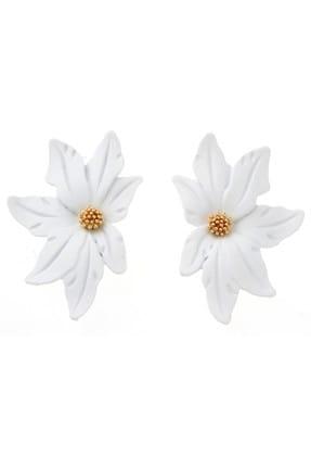 Pelin Aksesuar Beyaz Yarım Çiçek Küpe