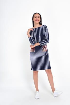 Hanna's Kadın Lacivert Beyaz Çizgili Uzun Kollu Cepleri Pul İşlemeli Elbise HN1834