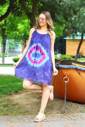 Patiska Kadın Mor Yuvarlak Desenli İp Askılı Batik Elbise 4131