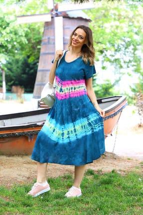 Patiska Kadın Lacivert Yarım Kollu Enine Desenli Batik Elbise 4126