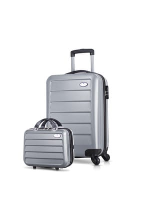 My Valice Gri Unisex 2'li Valiz Seti Makyaj ve Kabin Boy Ruby_2TR