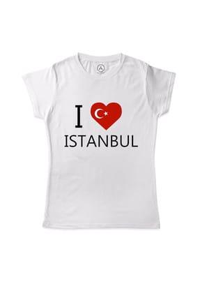 Art T-shirt I LOVE ISTANBUL KADIN TİŞÖRT - ARTRND02551W