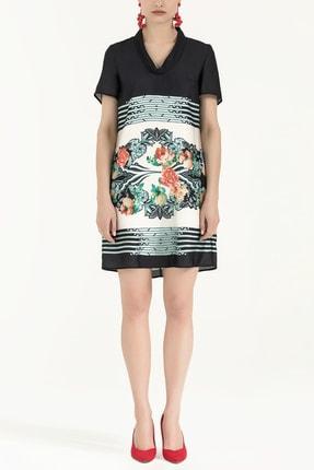 Societa Kadın Desenli Degaje Yaka Elbise Siyah 91541