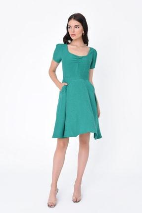 Hanna's Kadın Yeşil Büzgülü Cepli Kısa Kollu Elbise HN1993