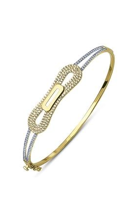 Allegro Gold 14 Ayar Altın Zirkon Taşlı Kelepçe Bilezik