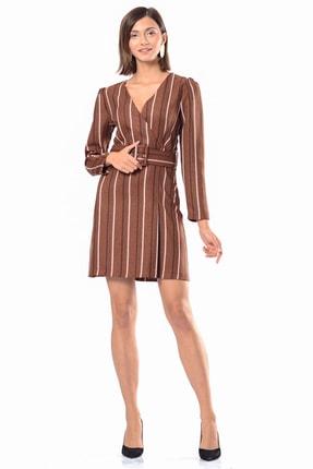 İroni Kadın Karamel Kruvaze Kemerli Çizgili Elbise 5289-1323