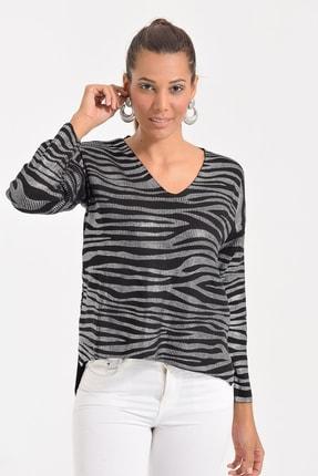 Deppoist Kadın Siyah Gümüş Zebra Varaklı Triko Kazak P00012133