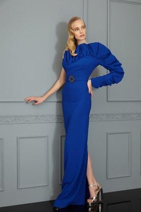 Keikei Kadın Saks Mavi Krep Kolsuz Kısa Elbise 2600796