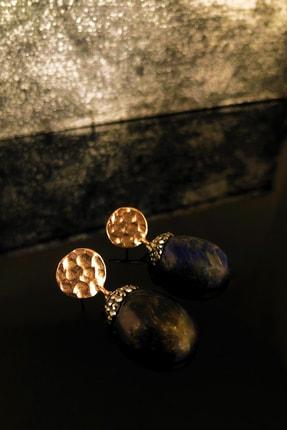 DR Stone Doğaltaş Kadın Lapis Lazuli Taşı Rosealtın Kaplama Küpe Ryl38