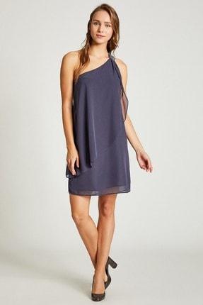 Vekem Kadın Gri Tek Omuz Payet Detaylı Şifon Elbise 9109-0105