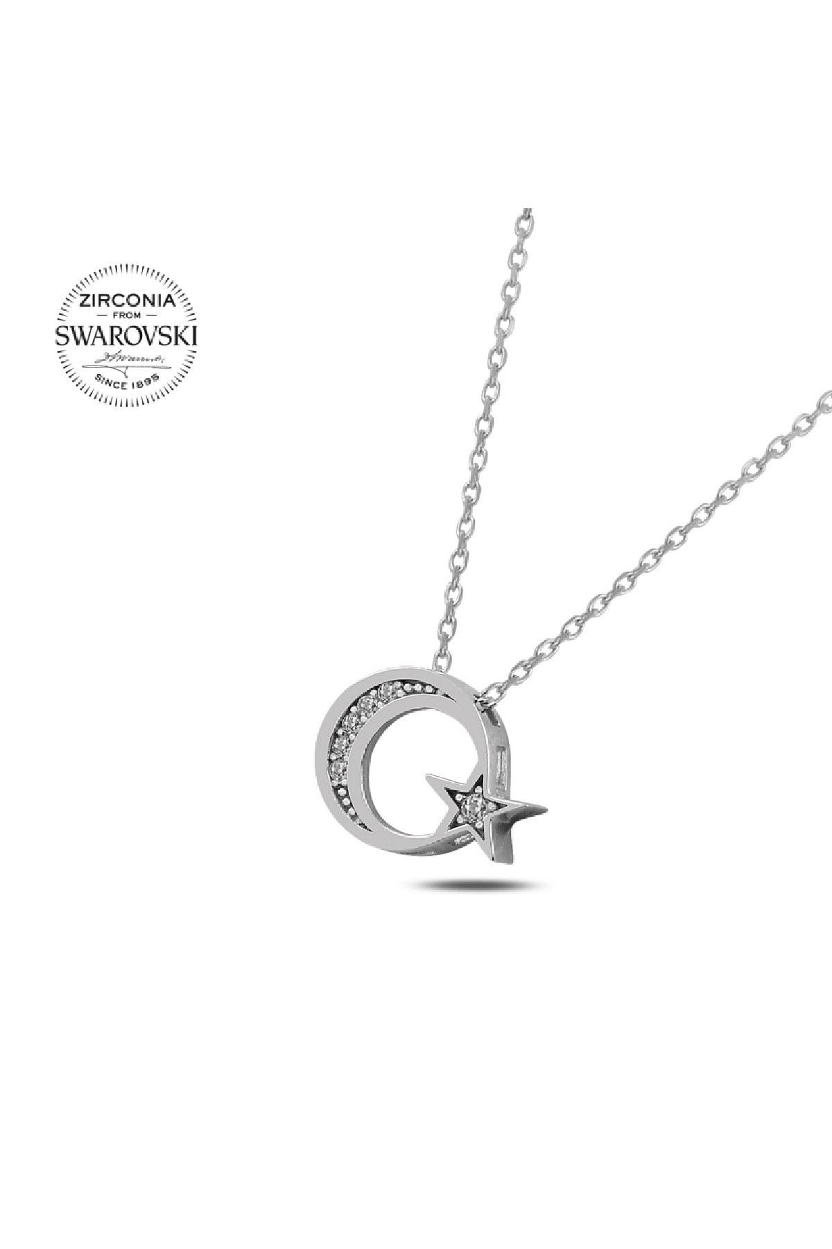 Silverella Gümüş Swarovski Zirconia Taşlı Ay Yıldız Kolye