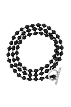 Valael Kadın Siyah Özel Tasarım Oniks Doğal Taş Kolye - Gümüş Valael520