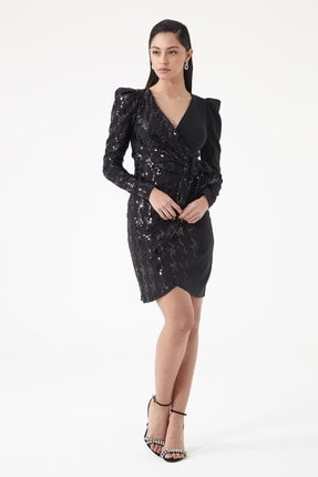 Keikei Siyah Krep Uzun Kol Kısa Elbise