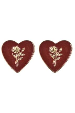 Pelin Aksesuar İçi Çiçek Desenli Kırmızı Vintage Kalp Küpe