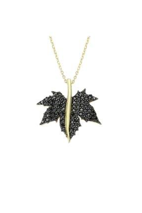 Altın Sepeti Altın Siyah Çınar Yaprağı Kolye