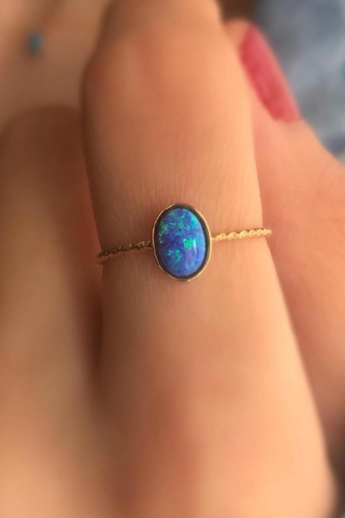 Dalmarkt 925 Ayar Gümüş Üzeri Altın Kaplama Mavi Opal Taş Yüzük