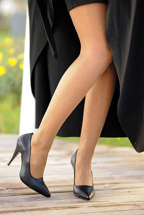 Pembe Potin Siyah Kadın Topuklu Ayakkabı A5454-19