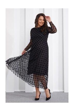 Seamoda Puantiye Baskılı Tül Elbise Siyah