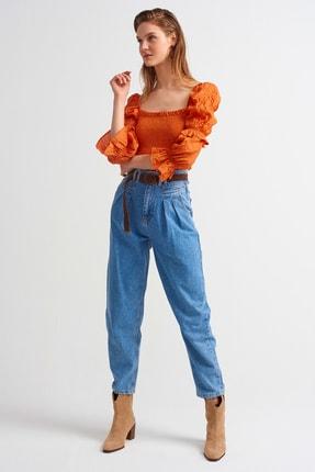 Dilvin Kadın Çift Pileli Bol Jean Pantolon 4057-Mavi