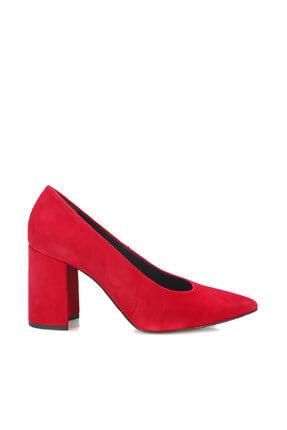 İnci Hakiki Deri Süet Kırmızı Kadın Klasik Topuklu Ayakkabı 120130008805