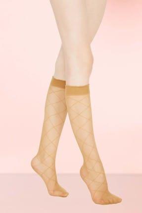 Mite Love Kadın Ten Baklava Desen Dizlatı Çorap