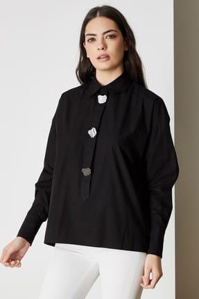 Vekem Kadın Siyah Büyük Düğmeli Pamuklu Gömlek 9106-0022