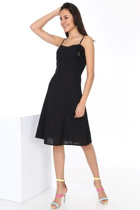 Patiska Kadın Siyah Önü Bonzuk Detaylı İp Askılı Elbise 4061