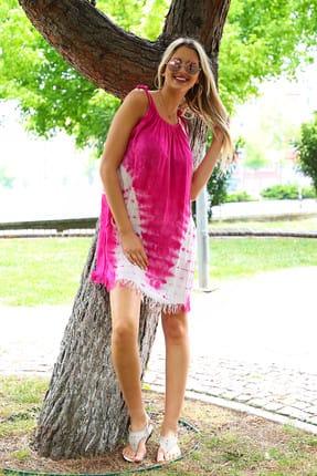 Patiska Kadın Pembe V Desenli İp Askılı Batik Elbise 4130