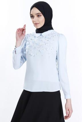 Sitare Kadın Bebe Mavi Önü Çiçekli Gömlek 19Y2479 19YGM19Y2479