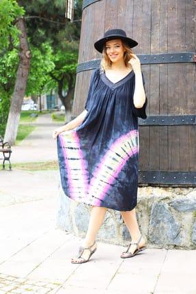 Patiska Kadın Siyah Yarım Kollu Danteli V Desenli Batik Elbise 4138