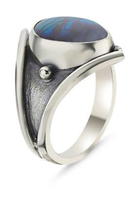 Tevuli Kadın Gümüş 925 Ayar Abalon Sedef Taşlı El İşi Yüzük R85959