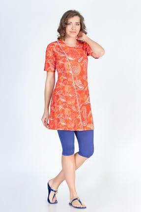 ALFASA Kadın Oranj Kısa Kol Desenli Taytlı Yarı Kapalı Tesettür Mayo