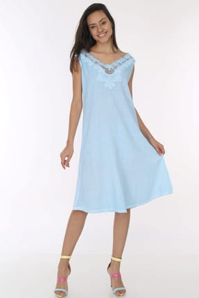Patiska Kadın Mavi Önü Çiçek Dantel Detaylı Salaş Elbise 4044