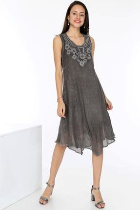 Patiska Kadın Füme Eteği Çift Katlı Kolları Volanlı Önü Dantelli Elbise 4030