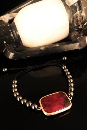 DR Stone Dr Stone Doğaltaş Kadın Akik Taşı Rose Altın Kaplama Bileklik KRB379