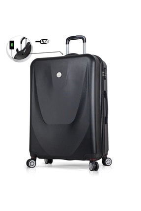 My Valice Unisex Smart Bag Energy Usb Şarj Girişli Büyük Boy Abs Valiz Siyah