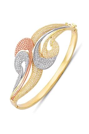 Allegro Gold 14 Ayar Altın Zirkon Taşlı Üç Renk Kelepçe Bilezik