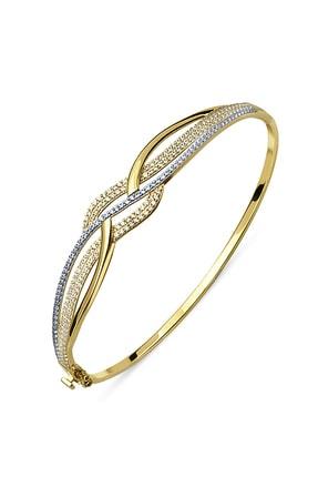 Allegro Gold 8 Ayar Altın Zirkon Taşlı Kelepçe Bilezik