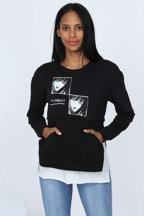 Deppoist Kadın Siyah Çift Resim Baskılı Sweatshirt P00011932
