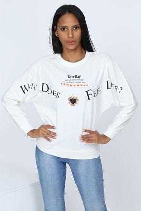 Deppoist Kadın Beyaz One Day Baskılı Sweatshirt P00011930