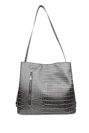 Housebags Kroko Gri Kadın Omuz Çantası 114
