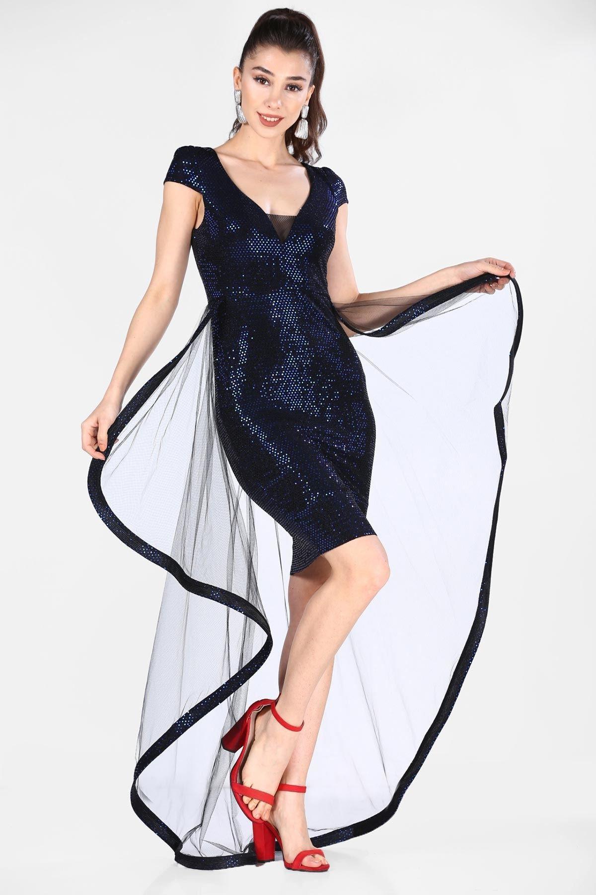 Nesrinden Pullu Saks Kadın Elbise ELB0001D7231