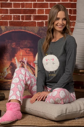 Elitol Kadın Antrasit Welsoft Nakışlı Pamuklu Likralı Pijama Takım