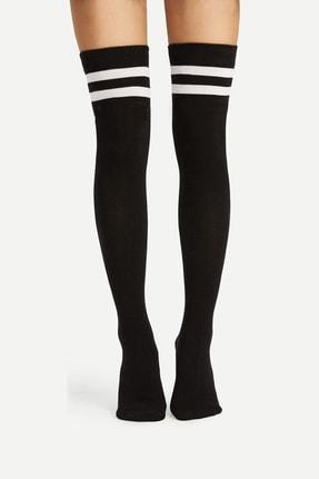 Hane14 Kadın Siyah Boom Çizgili Pamuklu Diz Üstü Çorap