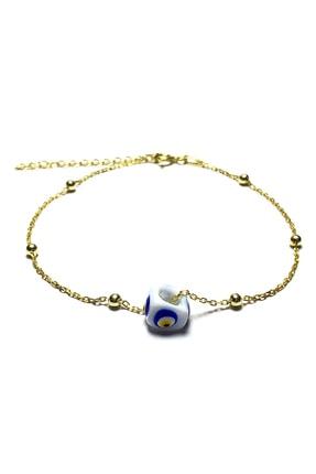 Midyat Gümüş Dünyası Kadın Beyaz Nazar Boncuklu Bayan Gümüş Bileklik  MGD2020908E