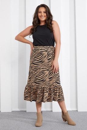 Seamoda Kadın Bej Zebra Desen Etek PRA-654828-479675