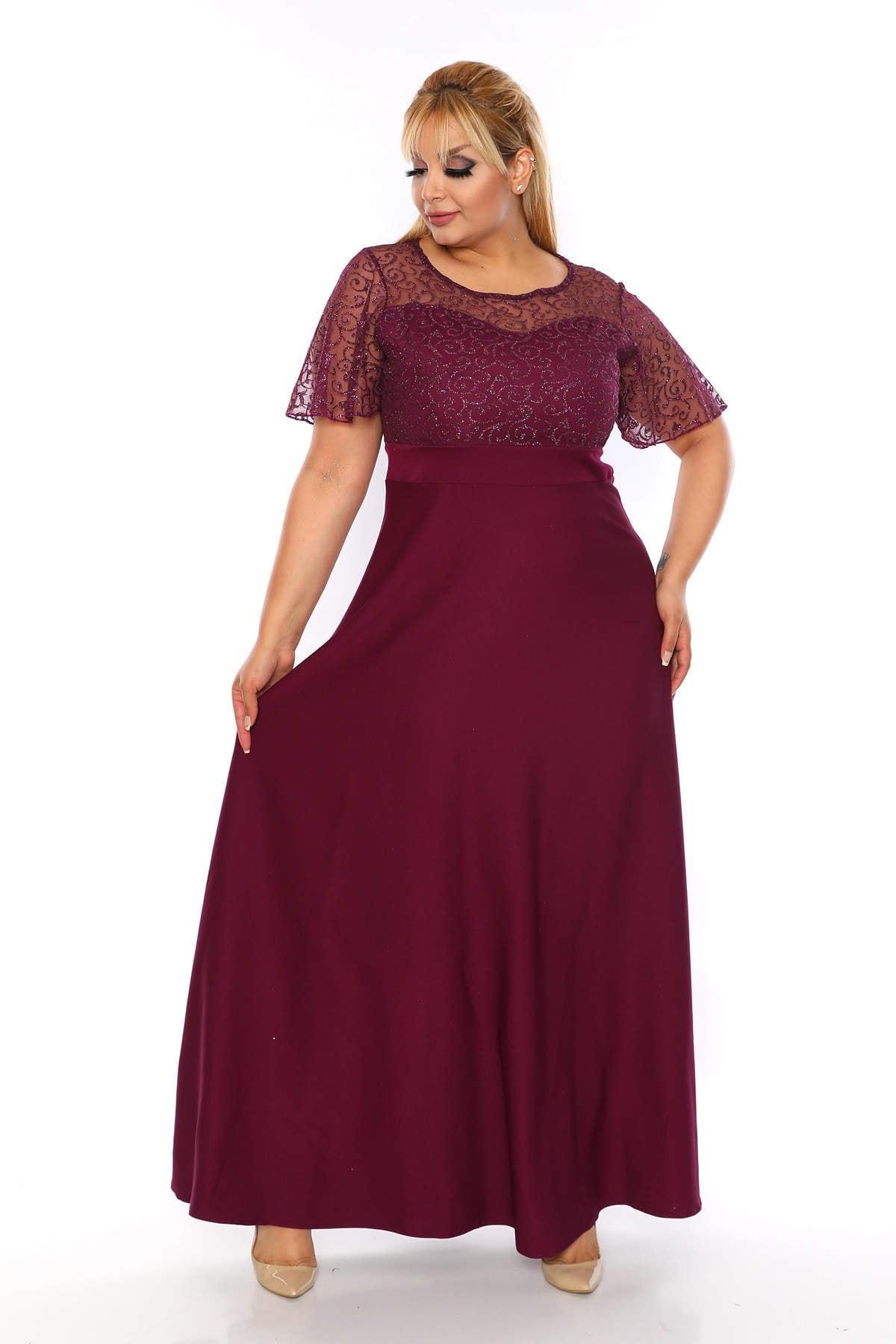 ANGELINO Kadın Mor Dantel Detay Uzun Abiye Elbise T109944